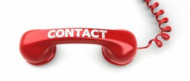 Label de récepteur téléphonique et de contact là-dessus. Photos libres de droits