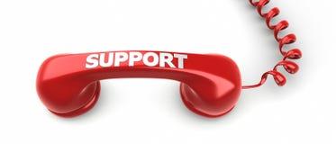 Label de récepteur téléphonique et de soutien là-dessus. Photos libres de droits