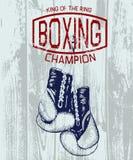 Label de sports de vintage avec des gants de boxe illustration libre de droits