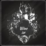 Label de tableau de carte des vins illustration stock