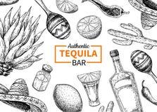 Label de vecteur de barre de tequila Dessin mexicain de boissons d'alcool Bouteille illustration stock