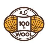 Label de vecteur de boucle de laine 100 pour cent de naturel Photographie stock