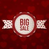Label de vente de jour de valentines grand avec le texte et le ruban Photographie stock