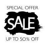 Label de vente de promotion dans le style grunge avec les courses noires de brosse Illustration de vecteur Photo libre de droits