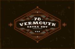 Label de vermouth avec le cadre de vintage pour le logo, emblème, desi d'autocollant Image stock