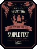 Label de vin avec le bateau et les raisins de navigation Photographie stock libre de droits