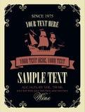Label de vin avec une photo du vieux bateau de navigation Photographie stock