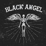 Label de vintage avec l'ange noir Images stock