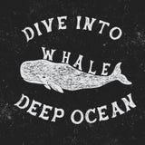 Label de vintage avec la baleine Photos stock