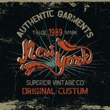 Label de vintage avec la conception de New York City Photos libres de droits