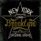 Label de vintage avec la conception de ville de Brooklyn Photo stock