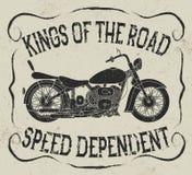 Label de vintage avec la moto Image stock