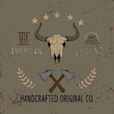 Label de vintage avec le crâne du taureau Images libres de droits