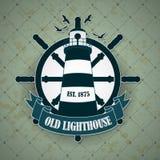 Label de vintage avec un thème nautique Images libres de droits