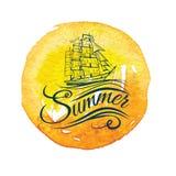 Label de vintage d'aquarelle avec un lettrage de bateau et de main illustration stock