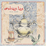 label de vintage de thé arabe Illustration Photographie stock