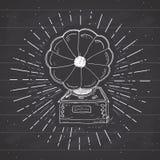 Label de vintage de phonographe, croquis tiré par la main, rétro insigne texturisé grunge illustration de vecteur