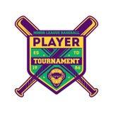 Label de vintage de tournoi de joueur de baseball illustration stock
