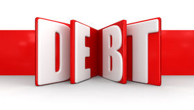 Label with debt (clipping path included) Stock Photography