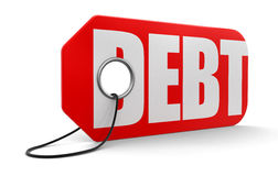 Label with debt (clipping path included) Royalty Free Stock Photo