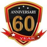 Anniversary 60 th label with ribbon. Label decoration ceremony anniversary vector sign symbol celebration icon birthday stock illustration