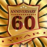 Anniversary 60 th label with ribbon. Label decoration ceremony anniversary vector sign symbol celebration icon birthday royalty free illustration