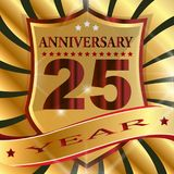 Anniversary 25 th  label with ribbon. Label  decoration  ceremony  anniversary  vector  sign  symbol  celebration  icon  birthday Stock Photography
