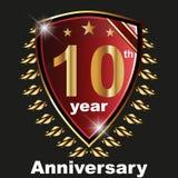 Anniversary 10 th label with ribbon. Label decoration ceremony anniversary vector sign symbol celebration icon birthday royalty free illustration