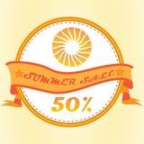 label des textes de bannière de vente d'été avec le vecteur saisonnier de concept d'achats d'affaires de symbole du soleil Images stock