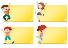 Label design with boys and girls exercise Stock Image