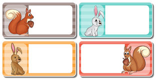 Label design with cute animals Royalty Free Stock Photos
