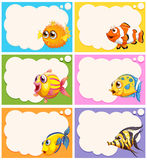 Label design with cute fish vector illustration