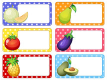 Label design with fruits and vegetables vector illustration