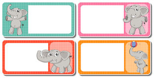 Label design with gray elephants Stock Photography