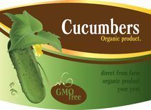 Label design with a cucumber stock illustration
