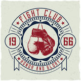 Label design with illustration of boxing gloves vector illustration