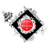 Label design of merry christmas and happy new year vector Royalty Free Stock Photos