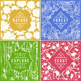 Label design with seamless patterns Stock Image
