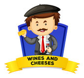 Label design with wines and cheeses Royalty Free Stock Image