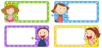 Label designs with boy and girl. Illustration Royalty Free Stock Images