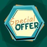 Label dessiné par bande dessinée d'offre, bleue et orange spéciale Photos stock