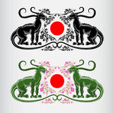 label deux de fleur de festival de hanami du Japon de Sakura avec des dragons Images libres de droits