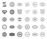 Label différent mono, icônes d'ensemble dans la collection réglée pour la conception L'index et la marque dirigent l'illustration illustration de vecteur