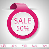 Label discount on Valentine`s Day. Sale. Vector label. Pink label with space for writing Royalty Free Stock Image
