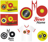Label or DJ Music Logo. Music logo label with turntable / also eyes looking for you, card and tee-shirt example, vector illustration Royalty Free Stock Photos