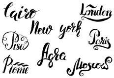 Label du Caire avec le sphinx tiré par la main, marquant avec des lettres le Caire, New York, Londres, Pise, Paris, Âgrâ, Rome, M illustration de vecteur