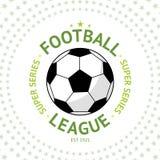 Label du football de vintage de style ancien avec la boule sur le vecteur de fond d'étoile Image libre de droits