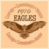 Label Eagle - rétro emblème de vintage Images libres de droits