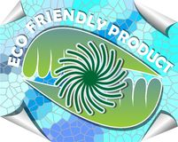 Label for eco friendly product in green and blue mosaic design Royalty Free Stock Images