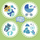 Label with elements for Asian newborn baby boy. A set of cute cartoon Label with elements for Asian newborn baby boy. Baby cartoon icons,scrapbooking elements in Stock Images